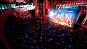 Lit stage Coronet Theatre London - Long term rental