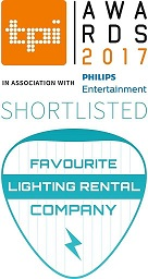 Shortlisted as Favourite Lighting Rental Company in the TPI Awards 2017